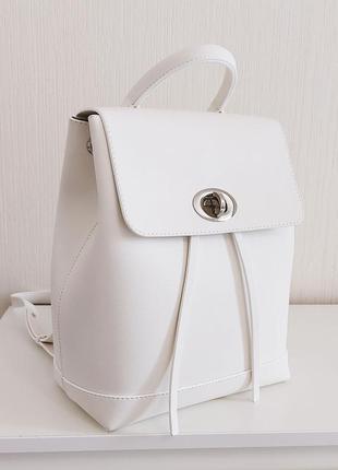 Белый стильный городской рюкзак молодежный для активных девушек лаконичный
