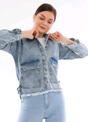 Джинсова куртка піджак оверсайз блакині сірі2 фото