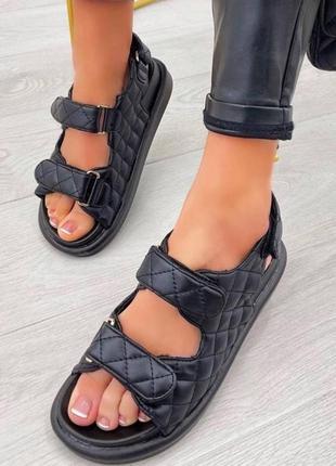 Босоножки шлепанцы эко-кожа черный сандалии сандали трендовые на липучках