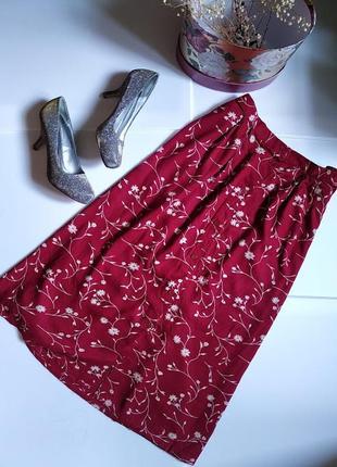 Бордовая летняя юбка в пол с цветочным принтом, с карманами, большого размера от compliments