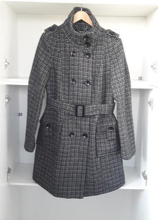 Демисезонное пальто шерстяное клетка  101760