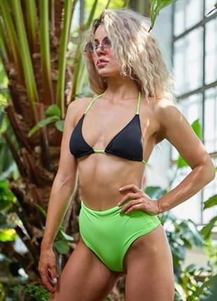 Женский пляжный купальник gabara black+light green