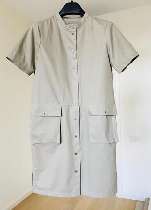 Cos крутейшее платье плащ из котона на кнопках с карманами