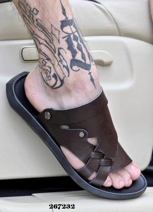 Шлепки-сандалии мужские коричневые
