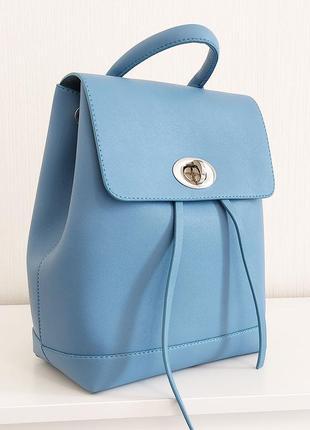 Голубой нежный городской стильный рюкзак для активных девушек и женщин
