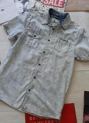 💥🚀🌟 крутая джинсовая рубашка необычный принт