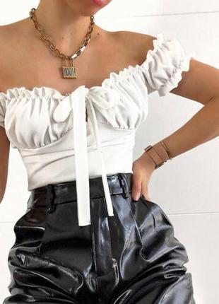 Сатиновый топ на плечи з завязкой