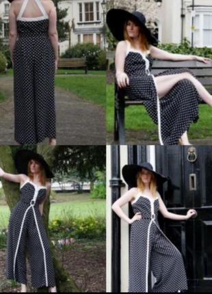 Оригинальный винтажный брючный комбинезон костюм горох