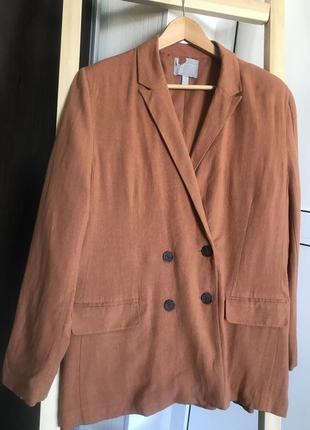 Летний льняной пиджак капучино, двубортный оверсайз пиджак