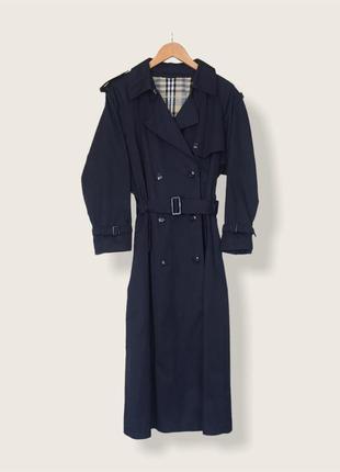 Плотный винтажный немецкий двубортный темно-синий тренч nino миди