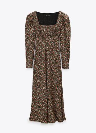 Сатиновое платье миди zara в цветочный принт