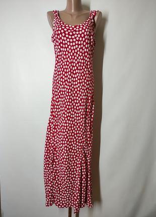 Красный в горошек миди сарафан в горох вискоза слип в бельевом стиле на высокий рост