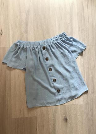 Блуза топ майка на плечі з ґудзиками сорочка / рубашка футболка с открытыми плечами на резинке с пуговицами