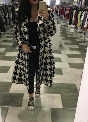 Zara woman принт пепита гленчек пальто тренч ольстер тренчкот внизу колокольчик шерсть 95%