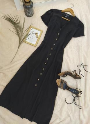Базовое черное платье из вискозы на пуговицах new look