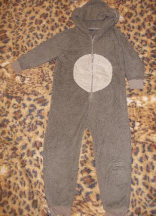 Пижама кигуруми слип человечек мишка на 7-8 лет рост 122-128 см
