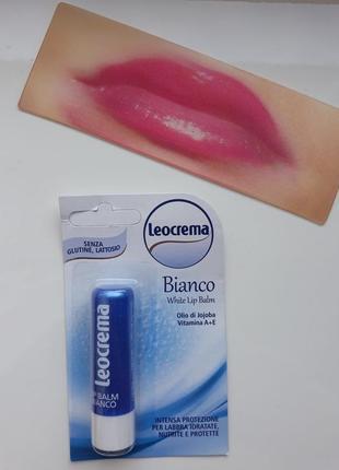 Бальзам для губ leocrema bianco, гигиеническая помада, классический, помада гігієнічна