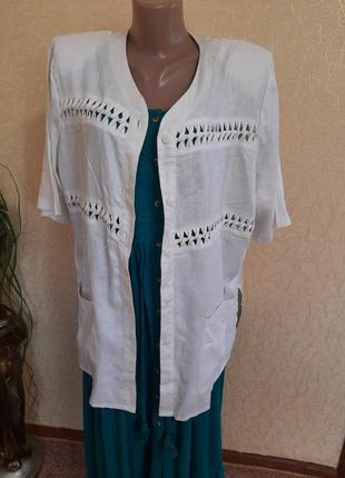 Льняной пиджак жакет кардиган  блейзер удлиненный летний