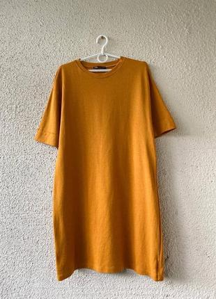 Горчичное платье-футболка