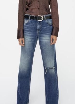 Zara джинсы со средней посадкой и разрезом, широкие штаны, брюки