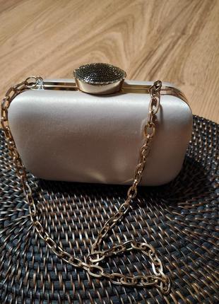 Клатч вечерний нюдовый сатин сумочка вечерняя2 фото