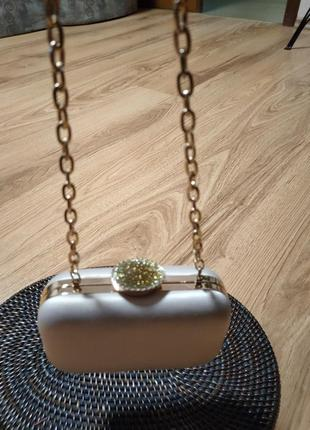 Клатч вечерний нюдовый сатин сумочка вечерняя5 фото