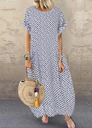 Летнее макси платье в горошек с карманами от zanzea