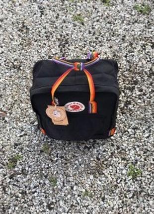 Городской рюкзак fjallraven kanken classic rainbow радужный 16 л черный ручка в радугу