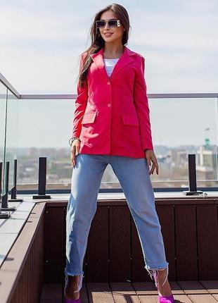 Новый женский стильный малиновый пиджак