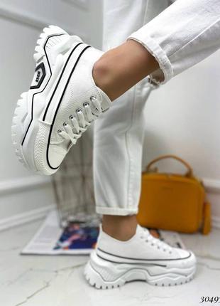 Кроссовки кеды текстиль белый на массивной высокой подошве спортивные7 фото