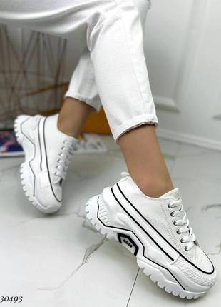 Кроссовки кеды текстиль белый на массивной высокой подошве спортивные4 фото