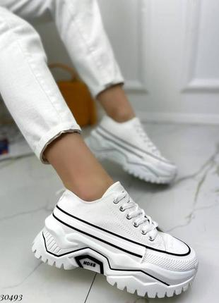 Кроссовки кеды текстиль белый на массивной высокой подошве спортивные3 фото