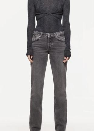 Zara прямые длинные джинсы, широкие штаны, брюки дудочки