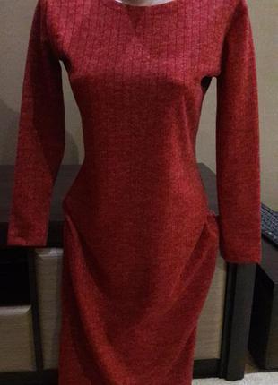 Платье миди бордово красное турция в размерах