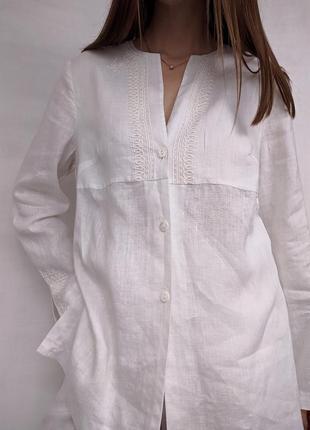 Льняная блуза вышиванка рубашка туника лен