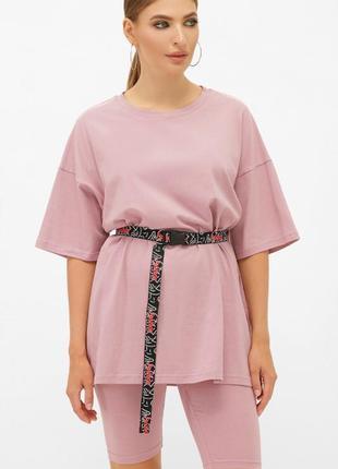 Свободная розовая футболка длинная летняя вільна футболка довга літня