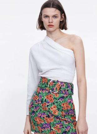 Рубашка на одно плечо из льна льняная блузка белая