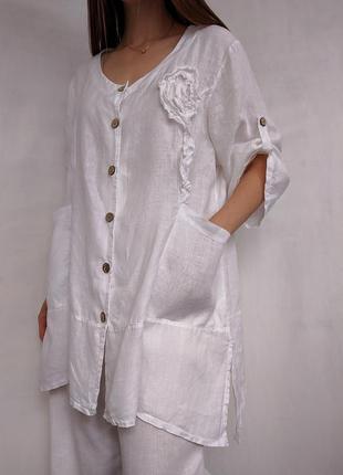 Льняная блуза рубашка туника италия лен батал