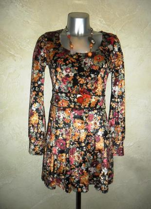 Красивое осеннее велюровое плюшевое платье туника next s-m 10