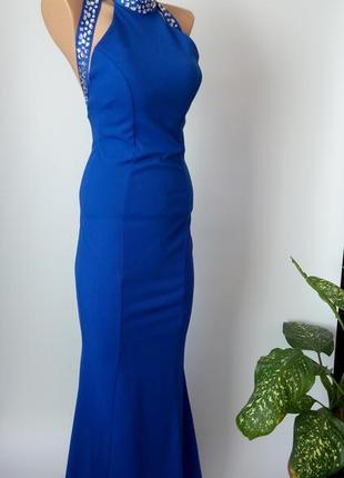 Платье длинное синее вечернее 44 46 размер новое на выпускной на праздник футляр рыбка
