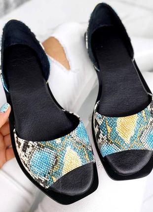 ❤️ шикарные туфли балетки рептилия питон кожаные