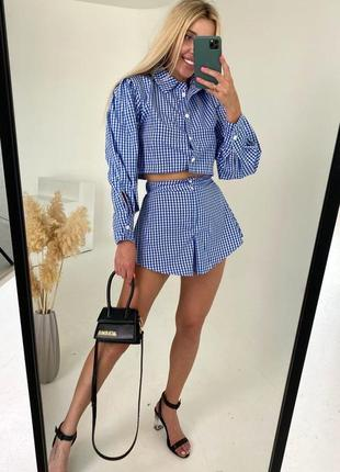 Костюм летний модный топ рубашка и шорты