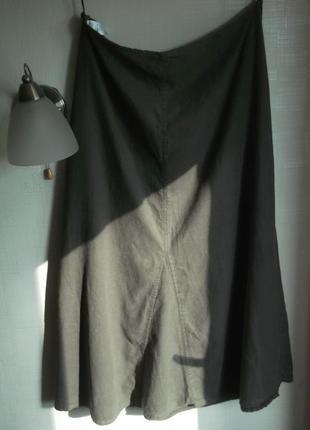 Юбка батал макси 91см, хаки, лен, 16-18 размер, marks&spencer
