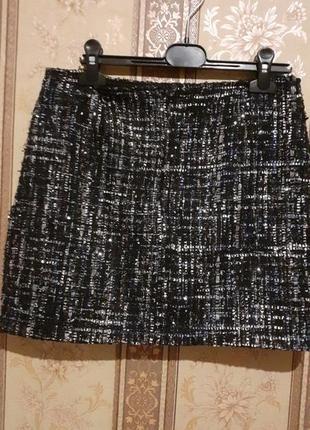 Теплая мини -юбка с люрексом
