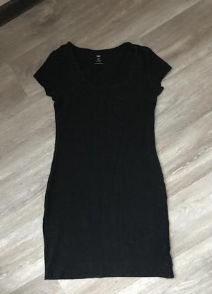 H&m маленькое женское чёрное платье мини короткое xs s m