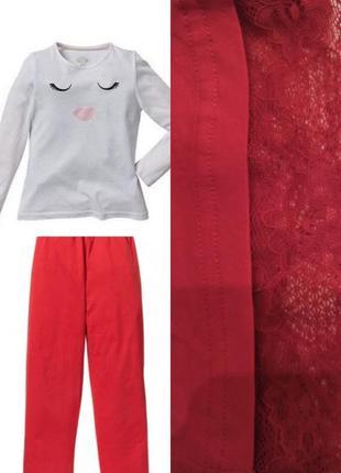 Трикотажные лёгкие штаны для дома германия красные пижамные штаны