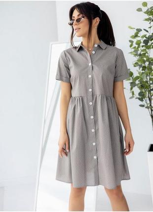 Стильное платье-рубашка в горошек