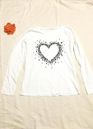 Reserved белая кофта джемпер на длинный рукав принт сердечки сердце с блестками s/m