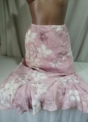 Натуральная юбка принт миди