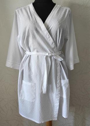 Белая тонкая пляжная туника-халат из тонкого хлопка, коттона